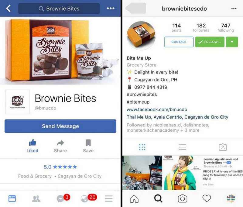 Brownie Bites Social Media