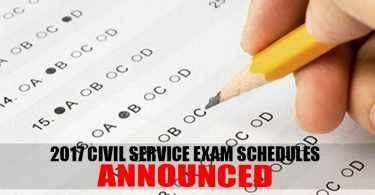 civil service exam 2017 schedule
