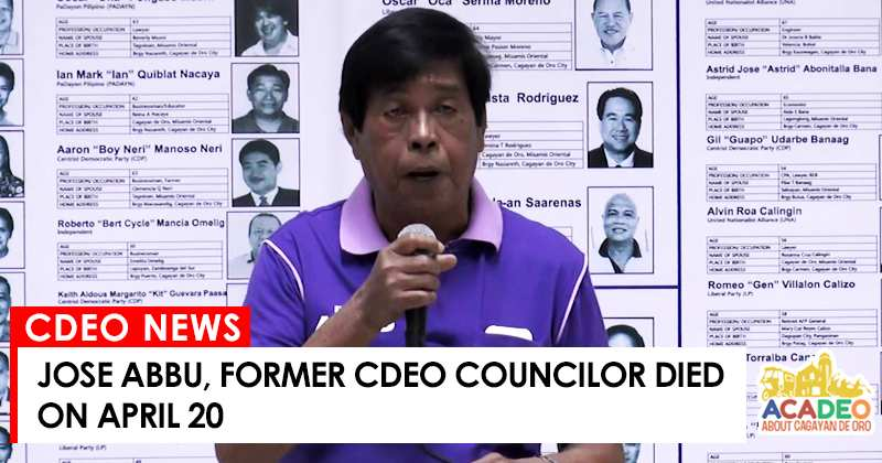 former cdeo councilor, jose abbu,