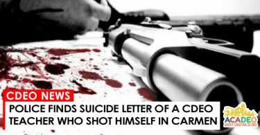 Suicide letter of a CDEO teacher found in Carmen