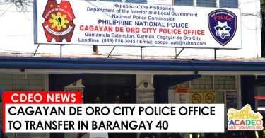 cocpo to transfer at brgy. 40, cagayan de oro police office, cocpo transfer barangay 40