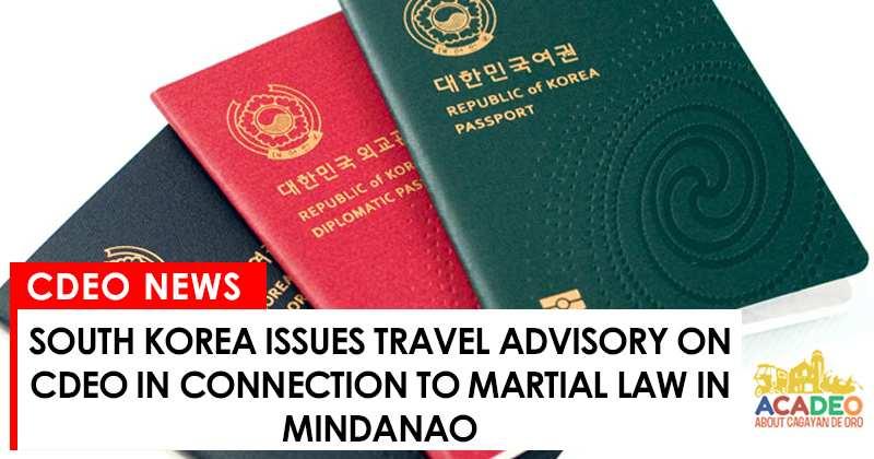 south korea issues travel advisory on mindanao