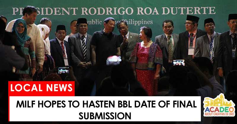 MILF hopes to hasten BBL date of final submission