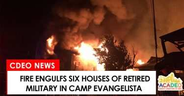 Fire engulfs six houses in Camp Evangelista