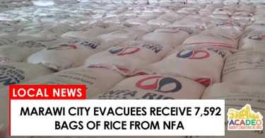 Maraw evacuees receive bags of rice