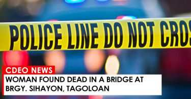WOMAN DEAD IN TAGOLOAN