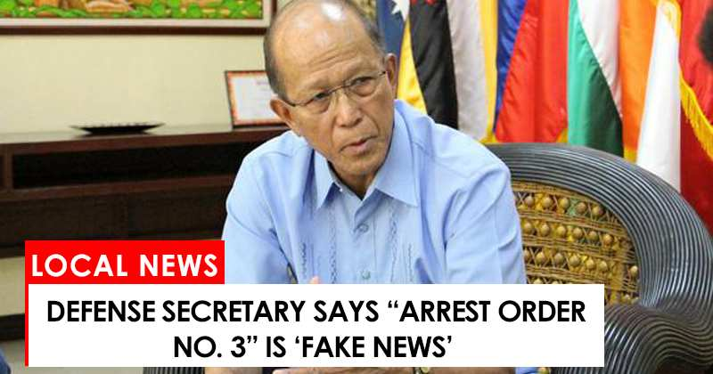 "Justice Secretary says ""Arrest Order No. 3"" is fake news"