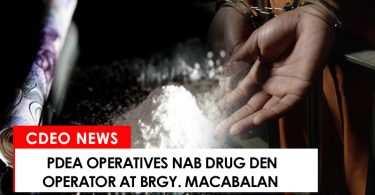 Drug den operator nabbed at Brgy. Macabalan