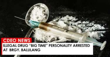 "Illegal drug ""big time"" personality arrested at Brgy. Balulang"