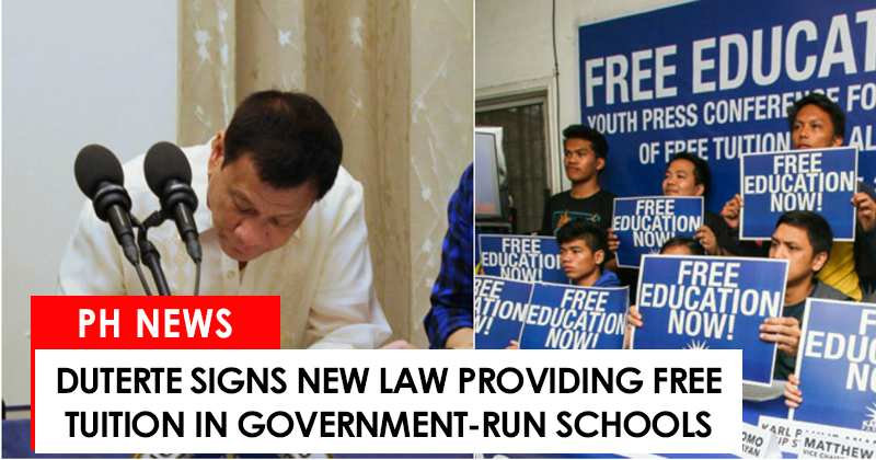 Duterte signs free tuition fee