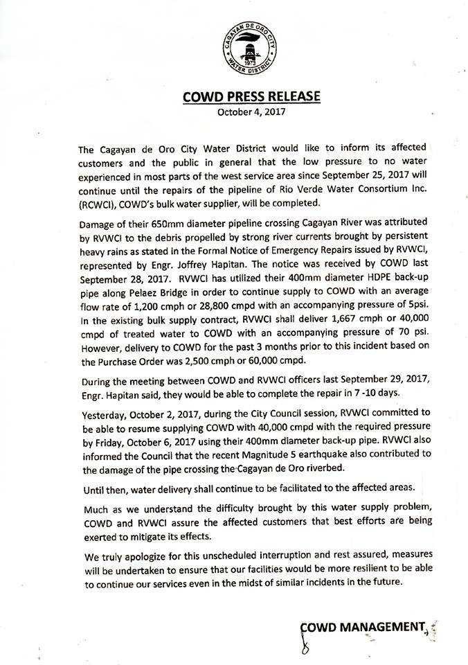 COWD Press Release