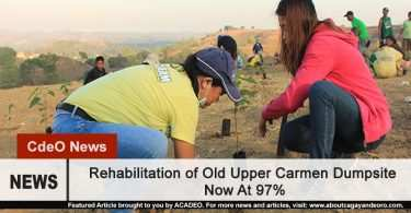 Rehabilitation of Upper Carmen Dump Site Now at 97%