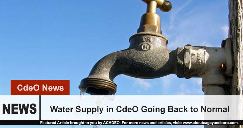 water supply in CdeO going back to normal