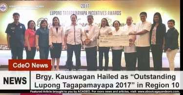 "Brgy. Kauswagan hailed as ""Outstanding Lupong Tagapamayapa 2017"""
