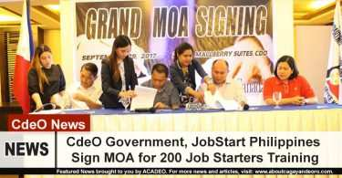 CdeO Government, JobStart Philippines Signs MOA for 200 job starters