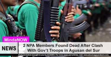 2 bodies of NPA members found in Agusan del Sur