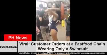 Customer orders at a fast food chain wearing only a swimsuit