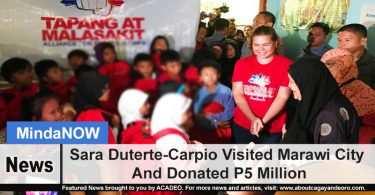 Sara Duterte-Carpio Visited Marawi City And Donated P5 Million