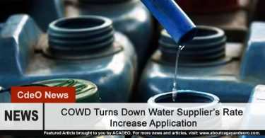 COWD Turns Down Water Supply's Request for Rate Increase