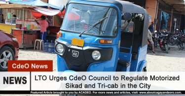 LTO urges XCdeO Council to regulate tricab and motorized sikad