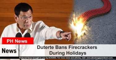 Duterte Bans Firecrackers During Holidays