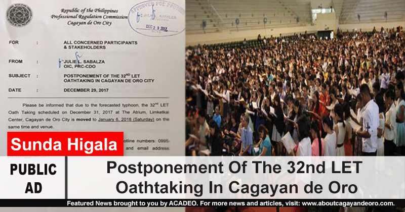 Postponement Of The 32nd LET Oathtaking In Cagayan de Oro
