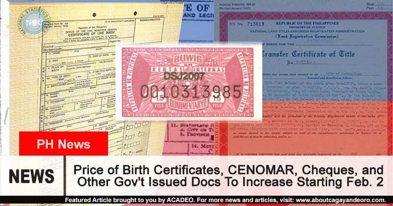 Price Of Birth Certificates Cenomar Cheques And Other Govt