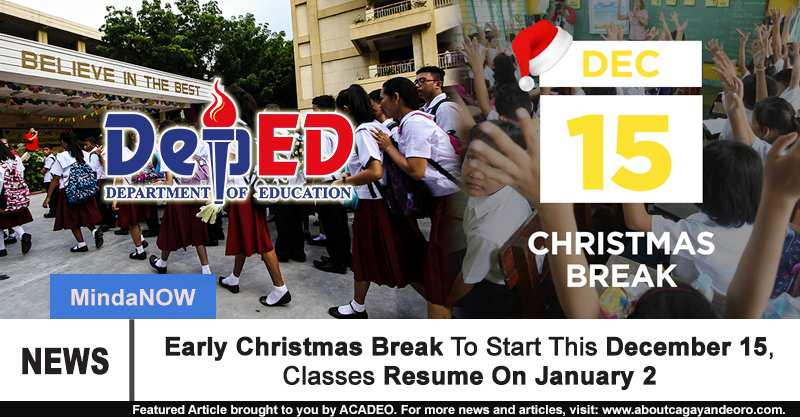 Deped Early Christmas Break To Start This December 15