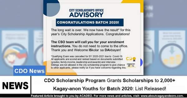 CDO Scholarship Program Grants Scholarships